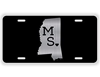 JMM Ind Mississippi State Love MS ♥ Vanity Novelty License Plate Tag Metal 12-Inches by 6-Inches Etched Aluminum UV Resistant ELP024