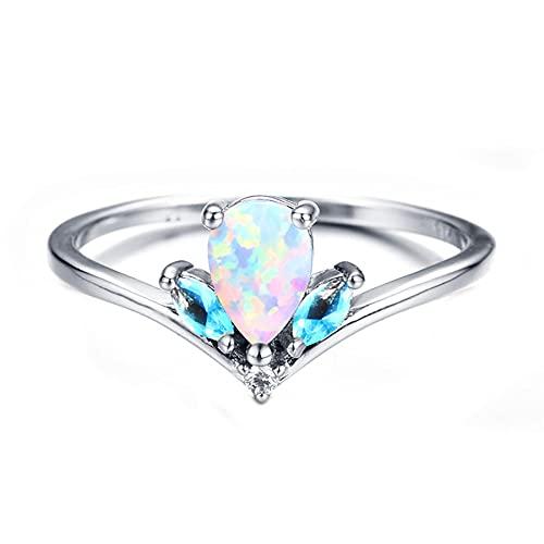 Anillos de ópalo de fuego oceánico para mujer, anillo de piedra de nacimiento con forma de lágrima de color plateado, 8 blanco
