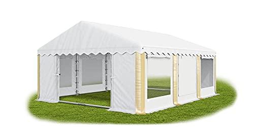 Das Company Partyzelt 3x6m Lagerzelt Universalzelt Pavillon mit Moskitonetz weiß-Ecru mit Bodenrahmen Zelt 240g/m² PE Plane wasserdicht Gartenpavillon Summer Floor IPEM