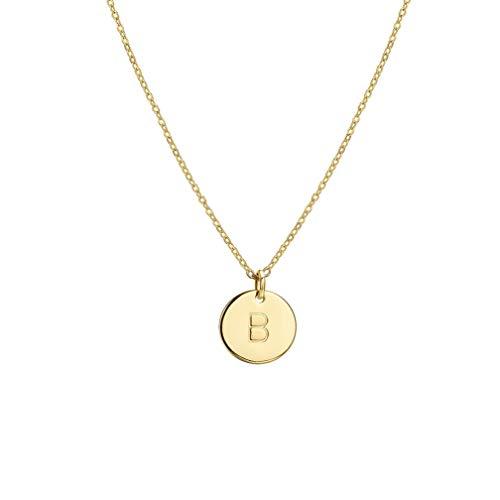 Osiana Runde Buchstabe B Kette, Personalisierte Gold Plattiert Disc Initial Halskette Graviert Kette mit rundem Buchstabenhänger Frauen Mädchen Kindergeschenke