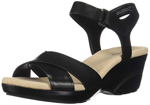 Clarks Women's Lynette Deb Sandal, Black Leather, 085 W US