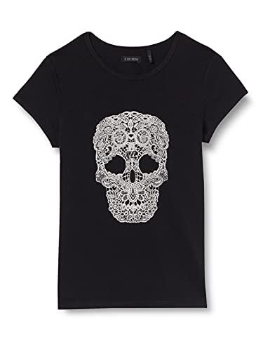 IKKS tee-Shirt Noir tête de Mort végétale Blanche Brillante Camiseta, Negro, 10...