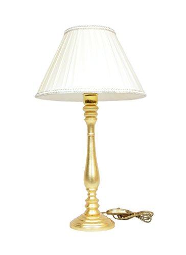 Grand lume en bois Doré Lampe de table abat-jour tissu plissé hauteur 60 cm