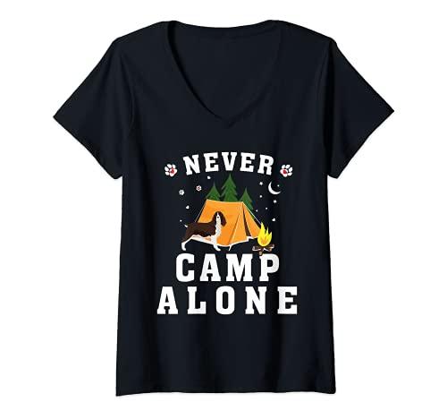 Mujer Tienda de campaña con texto en inglés «I Love My Springer Spaniel» Camiseta Cuello V