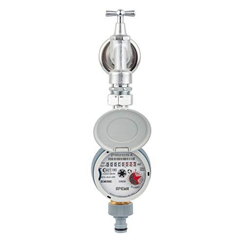 Zapfhahnzähler Kaltwasser Wasserzähler Q3=2,5 (QN 1,5) Baulänge 110 mm, Einstrahl Trockenläufer, Eichung 2021, mit Deckel