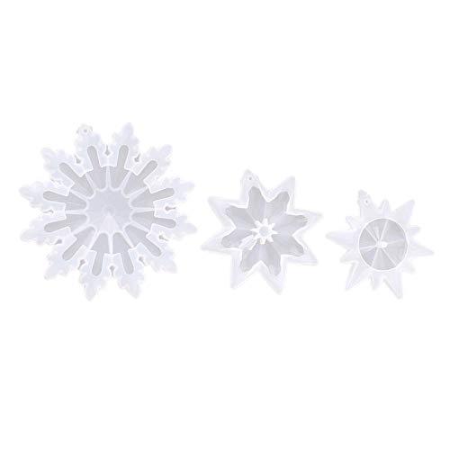 MagiDeal 3 Piezas de Copos de Nieve moldes de fundición de Resina moldes de Silicona Adornos Molde de jabón para Resina epoxi Manualidades DIY Collar