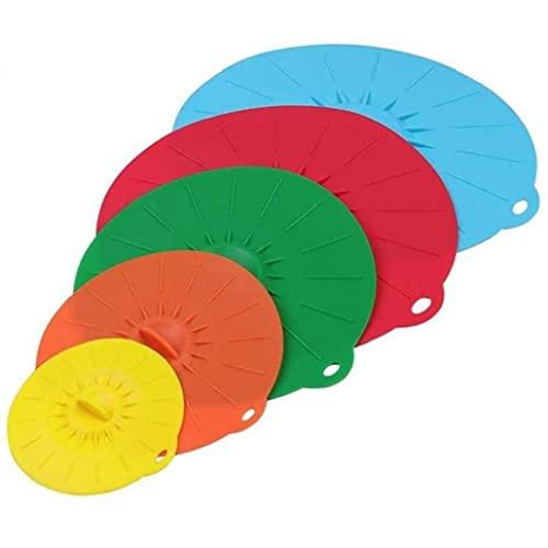 finebrand Tapa De Silicona Succión Microondas Recipiente De Cocción Pan Cubierta Reutilizable De Derrames Tapón Barbacoa Herramientas 5pcs