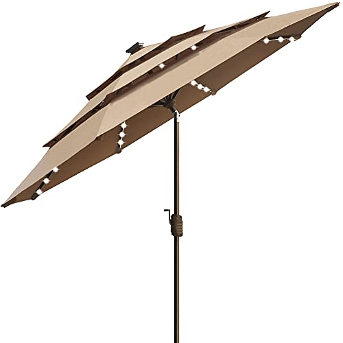 EliteShade Sunbrella Solar 9ft 3 Tiers Market Umbrella with...