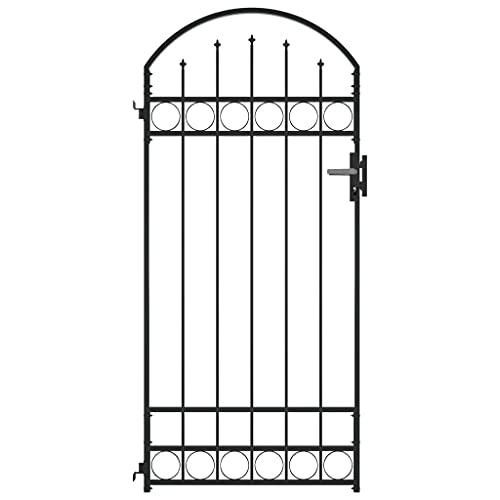 vidaXL Cancela de Valla Sencilla Individual Puerta de Jardín Entrada Exterior Barrera Recinto con Forma de Arco de Acero Negro 89x200 cm