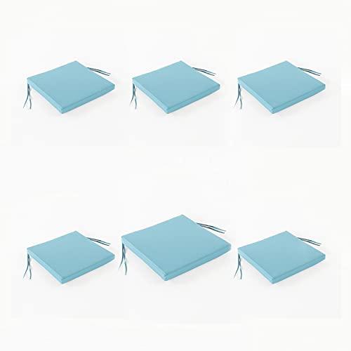 Edenjardi Pack 6 Cojines para sillas de jardín Color Turquesa, Tamaño 44x44x5 cm, Repelente al Agua, Desenfundable