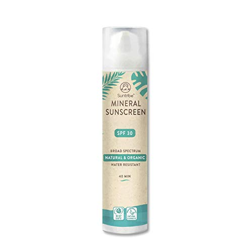 Crème Solaire Toute Naturelle Minérale Suntribe - Corps & Visage - FPS 30 - Reefsafe - 100% Oxyde de Zinc - Biologique - 7 Ingrédients - Résistant à l'eau - Blanc/Transparent (100 ml)
