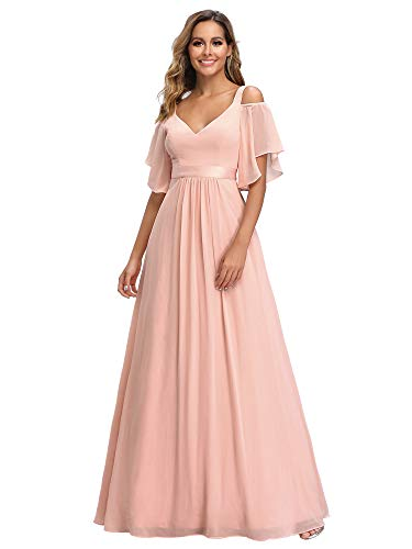 Ever-Pretty Women's V-Neck Cold Shoulder Empire Waist Wedding Guest Dresses for Women Pink US6