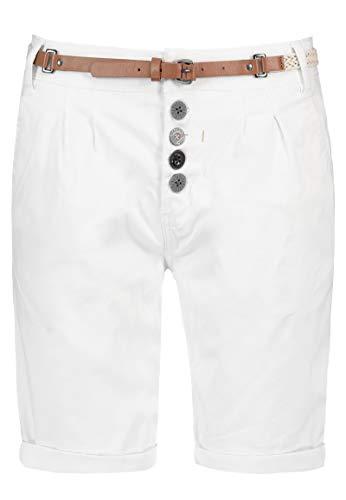 Sublevel Damen Chino Bermuda-Shorts mit Flecht-Gürtel White S