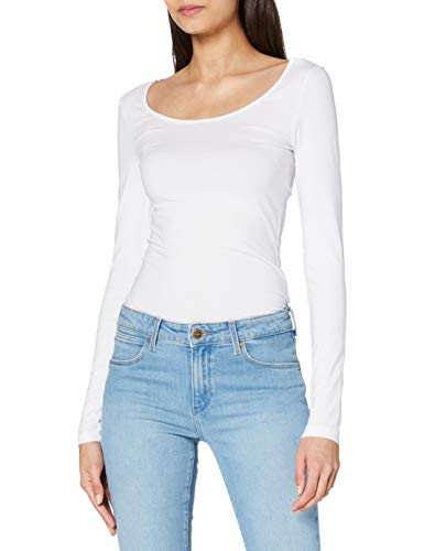 VERO MODA VMMAXI MY LS SOFT LONG U-NECK NOOS, Camisa Manga Larga Mujer, Blanco (Bright White), 38 (Talla del fabricante: Medium)