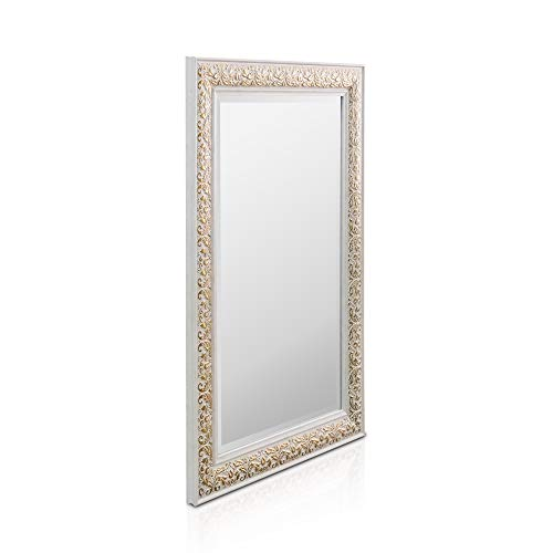Rococo by Casa Chic - Espejo de Pared Shabby Chic - 90x60 cm - Gran Espejo Estilo Vintage Francés - Blanco y Oro Antiguo