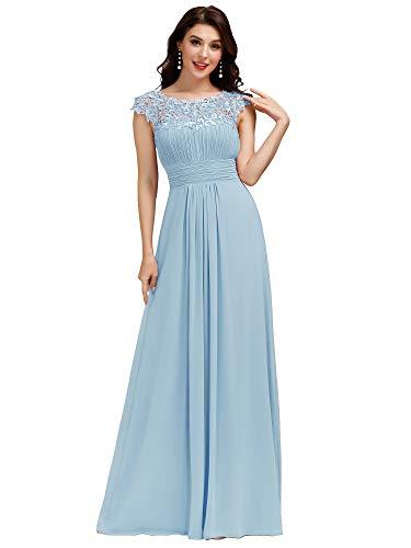 Ever-Pretty Damen A-Linie Abendkleid Spitze Brautjungfernkleid Chiffon Frauen Lange Blau 36