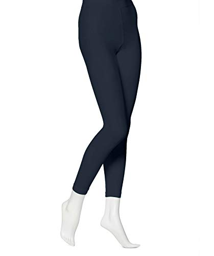 EMEM Apparel Women's Ladies Solid Colored Seamless Opaque Dance Ballet Costume Full Length Microfiber Footless Tights Leggings Stockings Dark Navy D
