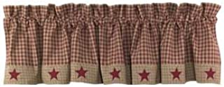 Country House Burgundy Homespun Applique Star Curtain Valance 72