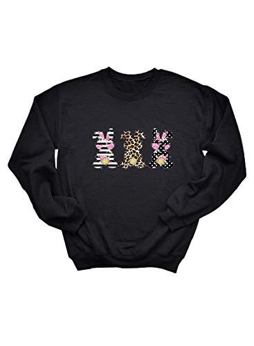 Camisas de Pascua para Mujer Patrón de Leopardo a Rayas Estampado Floral Manga Larga Cuello Redondo Tops
