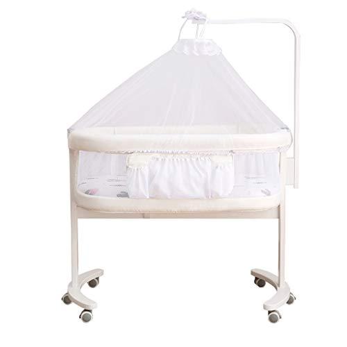 Cama de bebé para cuna tamaño king cama recién nacido, portátil, multifunción, cuna biónica movida (color: blanco)