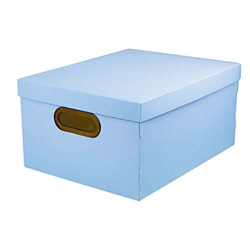 Caixa Organizadora com Tampa Retangular Dello Protêa Linho Serena 2192.BP. 18,5CMX38CMX29CM M Azul Pastel
