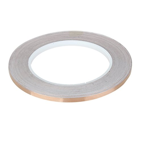 Electomania 30 Meter Copper Foil Tape with Double-Sided Conductive - Stained Glass Soldering Electrical Repairs Plug Repellent Paper Circuits Grounding 5mm