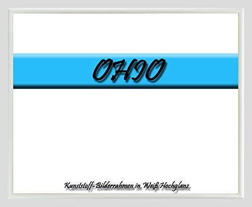 Kunststoff-Bilderrahmen Ohio 33 x 43 cm Weiß Hochglanz mit 1mm Acrylglas klar und weißer Rückwand – WhiteFix/Easy to Use. Posterrahmen in vielen Farben und Größen. Anfertigung nach Maß möglich.