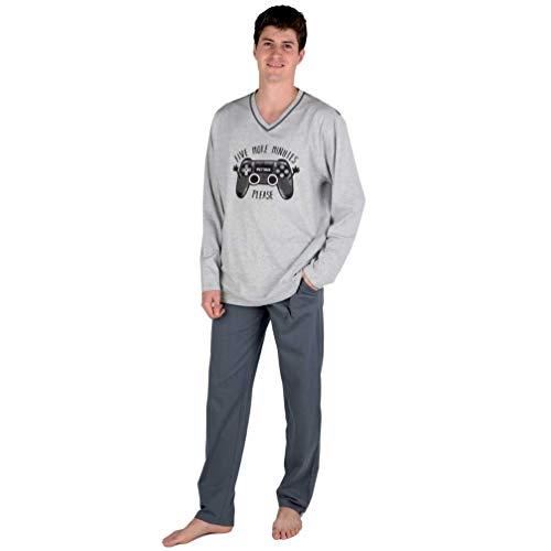 PETTRUS Pijama de Hombre Dibujo Play 5440 - Gris, L