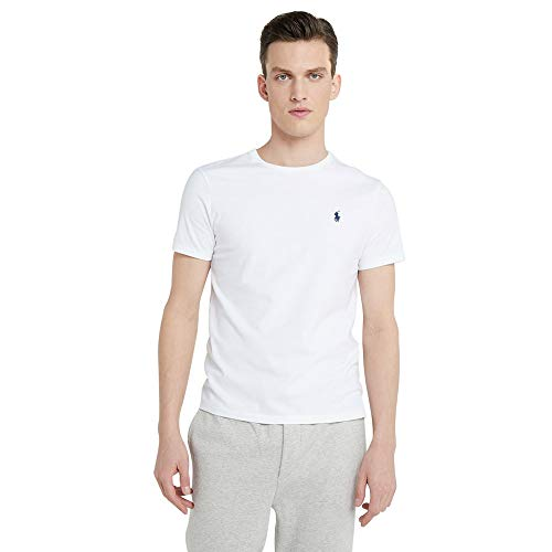 Ralph Lauren Camiseta para Hombre Custom Fit (M, Blanco)