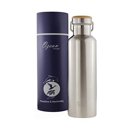 OzeanKonzept Isolierte Edelstahl Trinkflasche 750ml | Doppelwandig Wasserflasche Metall mit Schraubverschluss | Thermoskanne mit 2 Edelstahl Strohhalme für Sport, Uni und Wandern