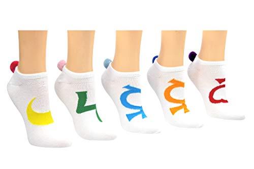Sailor Moon Socks Pom Pom Socks (5 Pair) - (Women) Sailor Moon Cosplay Lowcut Socks - Fits Shoe Size: 4-10 (Ladies)