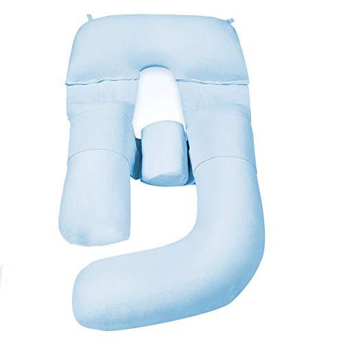 Coussins d'allaitement Coussin De Maternité Grossesse Coussin Corps Bleu/Rose avec Housse en Coton Lavable - Coussin de maternité pour Femme Enceinte - Dormir - Soulagement des douleurs dorsales