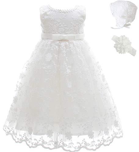 AHAHA Taufkleid Baby Mädchen Lange Taufe Festlich Kleid mit Hut und Stirnband