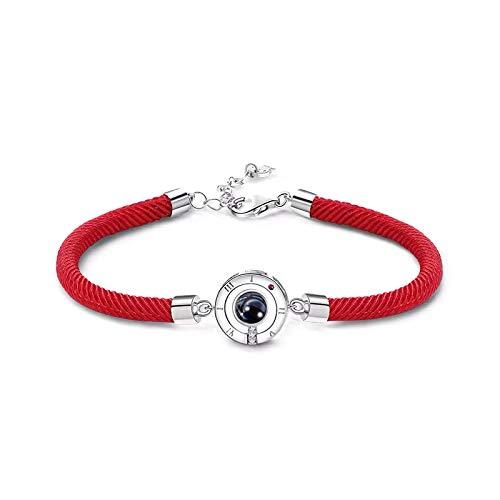QueenDer Colgante Ajustable Pulseras - 100 idiomas Te amo cristal Gircon - Regalos para mujeres Mamá Pareja de San Valentín (Rojo)