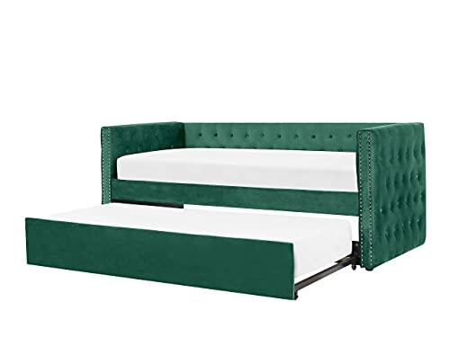 Beliani Cama Nido de Terciopelo Verde 90 x 200 cm GASSIN