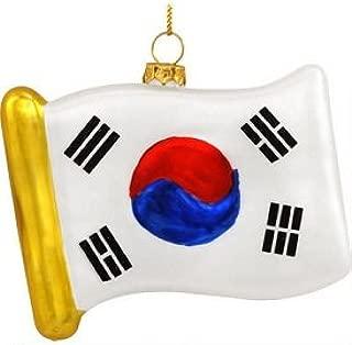 Wish Me Well South Korean Flag Glass Ornament