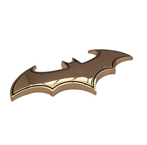 BOLLAER 3D Metal Batman Car Stickers Emblem, Bat Car Stickers and Decals Badge Decoration Decal Motorcycle Car Styling (Gold)