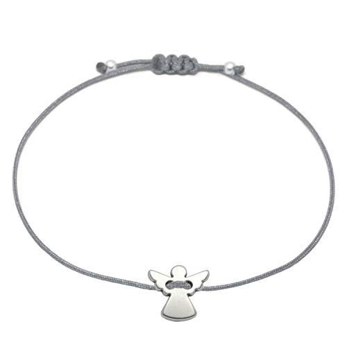 Schutzengel Armband Silber - Graues Bändchen/Glücksbringer Armkettchen Damen Selfmade Jewelry handmade (Silber)