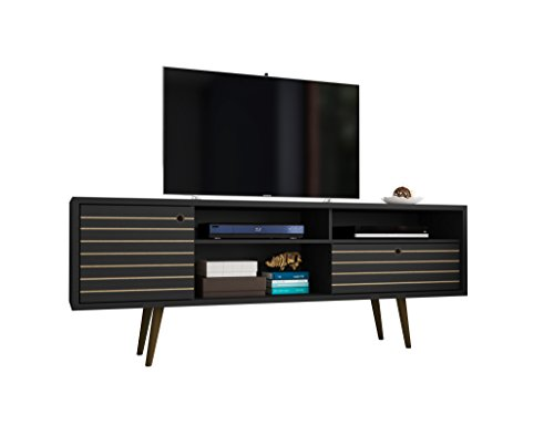Manhattan Comfort Liberty Mid-Century Modern Tv Stand, Large, Black