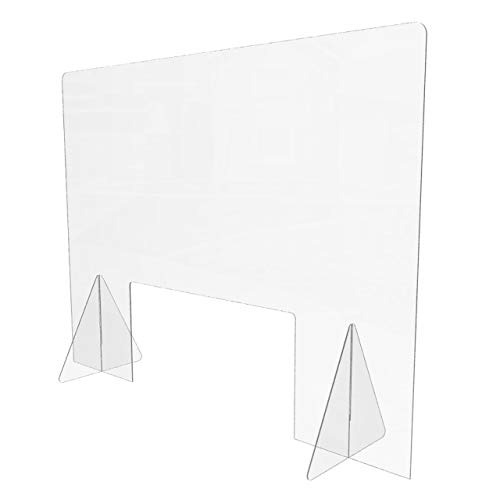 Sneeze Guard for Counter (48'W x 36'H), Freestanding Plexiglass Shield with Transaction Window, Portable Clear Acrylic Plastic Barrier for Countertops, Desk, Cashier, Manicurist [Made in USA]