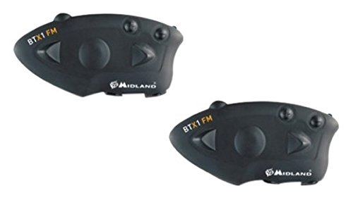 Midland BTX1 FM Twin - Pareja intercomunicadores piloto/copiloto (Bluetooth, Radio FM), Color Negro