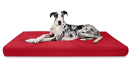 K9 Ballistics Tough Orthopedic Dog Bed XX-Large Nearly Indestructible & Chew Proof, Washable Ortho Pillow for Chewing Puppy - for XX-Large Dogs 68'x40', Red