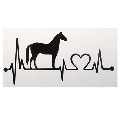 U/K PULABO Mode Auto Aufkleber, Pferd Herzschlag Dekorative Tier Auto Styling Decals 20,5x10 cm Tragbar und Nützlich langlebig