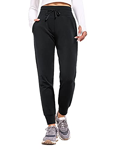 BALEAF Women's Fleece Lined Pants Water Resistant Sweatpants High Waisted Thermal Joggers Winter Running Hiking Pockets Black L