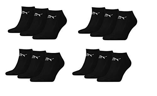 PUMA Socken Füße 12 Paar 4x3pack Unisex Größe 35-38 Sneakersocken perfekte Belüftung und ein bequemer Schnitt. (Schwarz)