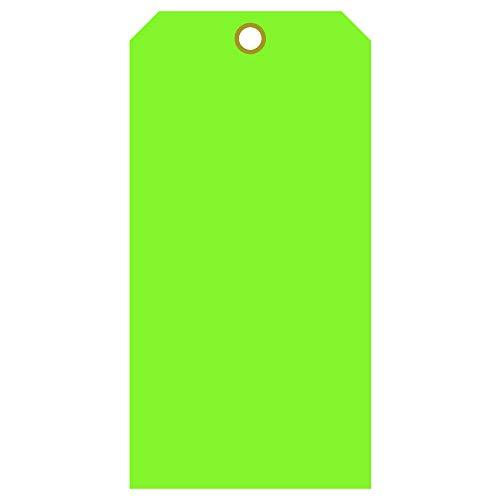 無地 高耐久 15ミル 防水プラスチックタグ - 装置 - バルブ - バックパック - 100個パック (2インチ x 4インチ、蛍光グリーン)