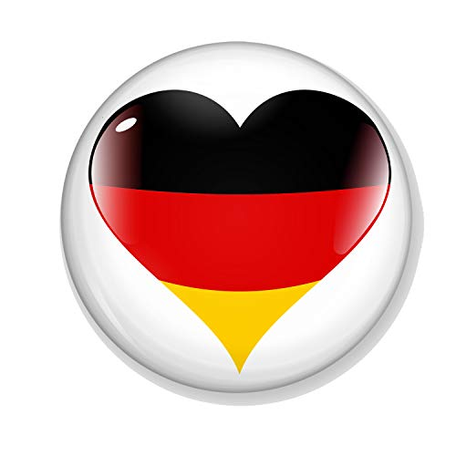 Gifts & Gadgets Co. Deutschland Flagge auf Herz Liebe Deutschland Button Anstecker 44 mm rund Anstecknadel