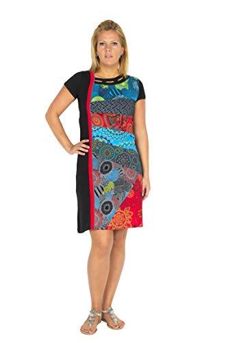 Filosophie Außergewöhnliches Ethno Kleid mit femininen Details und bunten Muster in Patchwork Design – 100{b7ecf3b2c3bab0a069be8e81431e485a7ffac47bd3a94132d8c135ab558e021f} Baumwolle - MAIA (3XL)