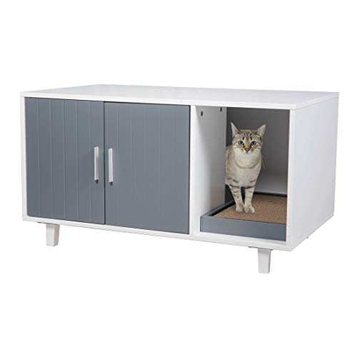 GOOD LIFE USA Modern Wood Pet Crate Cat Washroom Hidden Litter Box Enclosure Furniture House Table Nightstand with Cat Scratch Pad (Grey & White)