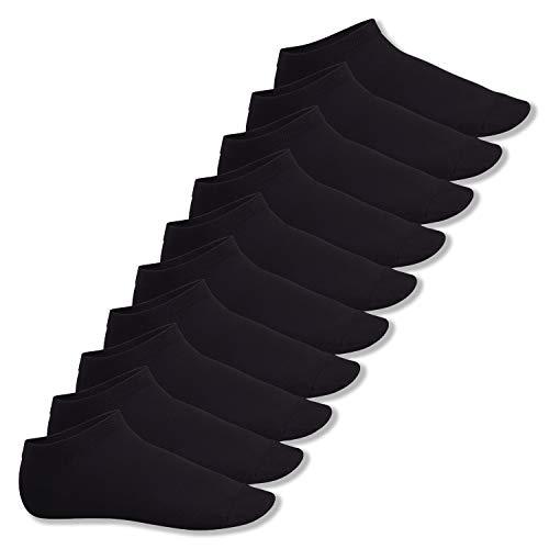 Footstar Herren und Damen Sneaker Socken (10 Paar), Kurze Sportsocken aus Baumwolle - Sneak It! - Schwarz 39-42